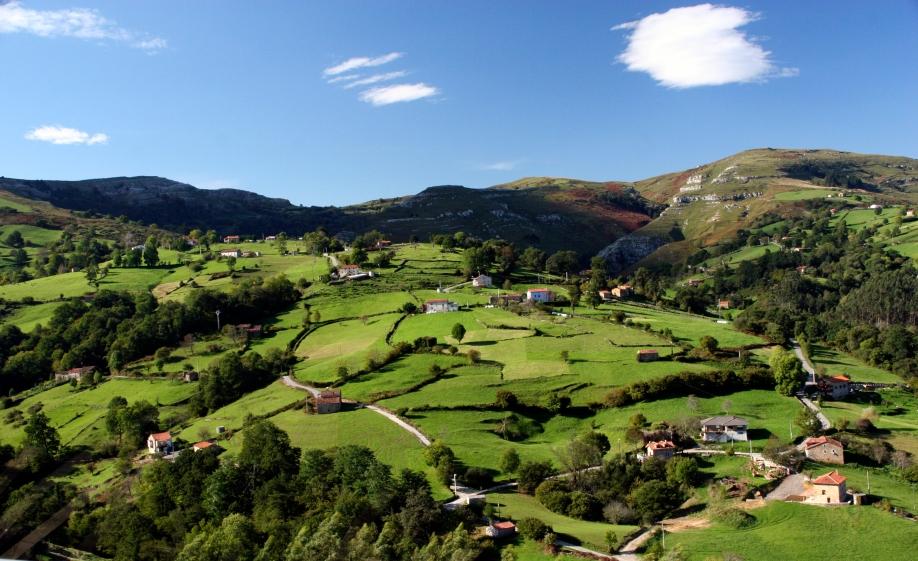 Paisaje de prados de siega en Cantabria (España). Monte (Riotuerto), Barrio de Idiopuerta. CC-BY soyignatius-