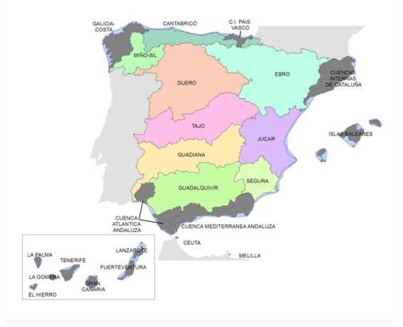 Mapa de las Demarcaciones Hidrológicas tras el traspaso de competencias a las Comunidades que incluyen en sus estatutos la gestión del agua