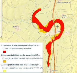 En el mapa se sobreponen las zonas inundables con periodo de retorno de 10, 10 y 500 años (la leyenda de la página web se ha desplazado para centrar la imagen en el río)