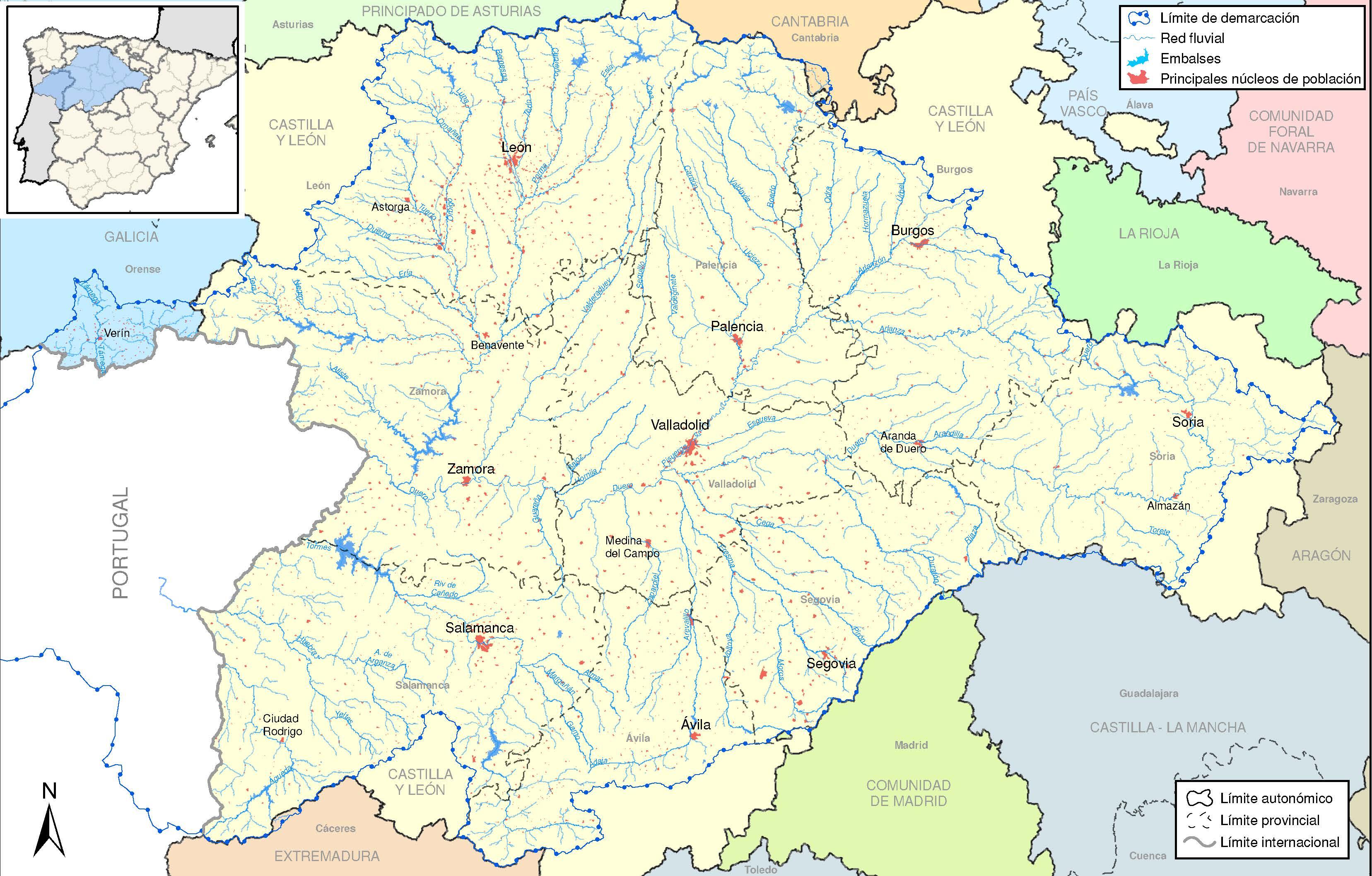 Cuenca Del Duero Mapa.Demarcacion Hidrografica Del Duero Afecciones Al