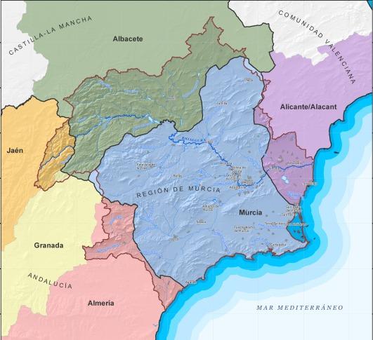 ESP-FLU mapa de la CH del Segura