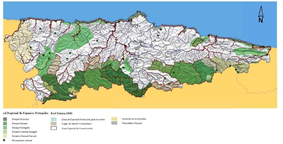Espacios Naturales Protegidos en Asturias (mapa 7 del Avance de Revisión de las DROT