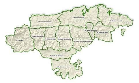 Mapa de los ámbitos paisajísticos delimitados en el anexo de la Ley