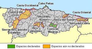 Mapa con la localización de los paisajes protegidos