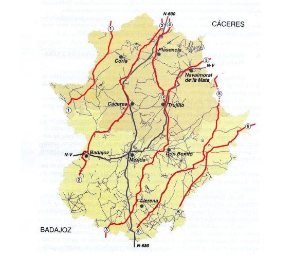 EXT mapa Las Vias Pecuarias